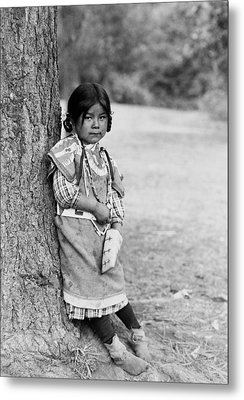Umatilla Girl Circa 1910 Metal Print by Aged Pixel