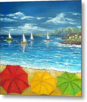 Umbrella Beach Metal Print by Katia Aho