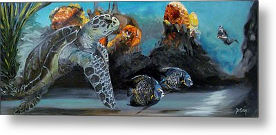 Metal Print featuring the painting Underwater Beauty by Donna Tuten