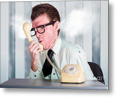 Unhappy Nerd Businessman Yelling Down Retro Phone Metal Print by Jorgo Photography - Wall Art Gallery