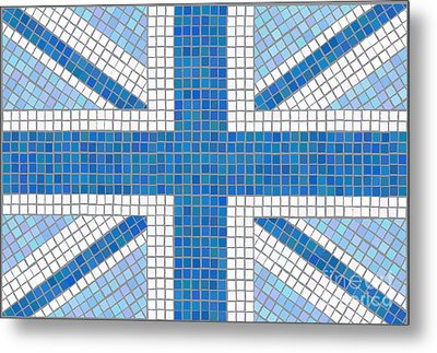 Union Jack Blue Metal Print by Jane Rix