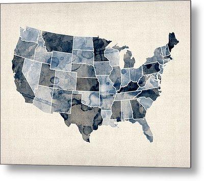 United States Watercolor Map Metal Print