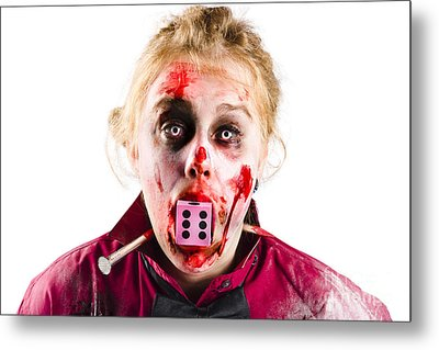 Unlucky Woman With Dice In Mouth Metal Print by Jorgo Photography - Wall Art Gallery