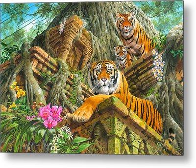 Temple Tigers Metal Print by John Francis