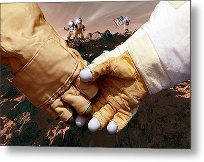 Us Astronauts On Mars Metal Print by Detlev Van Ravenswaay