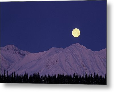 Usa, Alaska, Alaska Range, Full Moon Metal Print