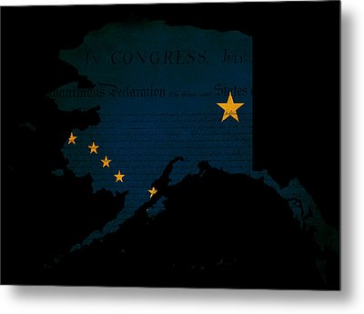Usa American Alaska State Map Outline With Grunge Effect Flag Metal Print by Matthew Gibson