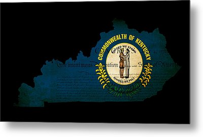 Usa American Kentucky State Map Outline With Grunge Effect Flag  Metal Print by Matthew Gibson