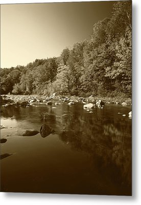 Usa, Vermont, Autumn Trees Reflected Metal Print by Adam Jones