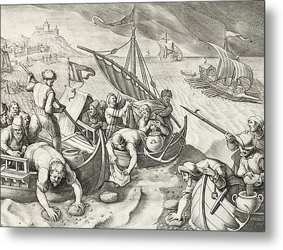 Using Sponges To Collect Naphtha From The Surface Of The Waves Metal Print by Jan Van Der Straet