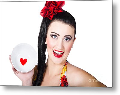 Valentines Day Dining Woman. I Love Food Concept Metal Print by Jorgo Photography - Wall Art Gallery