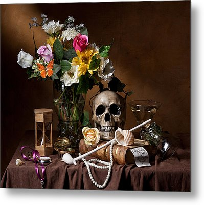 Vanitas With Flowers Bouquet-skull-hourglass-clay Pipe And Glassware Metal Print