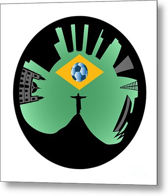 Vector Rio De Janeiro Skyline Metal Print by Michal Boubin