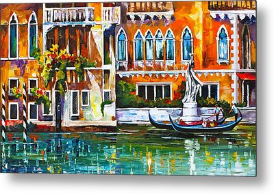 Venice Canal Metal Print by Leonid Afremov
