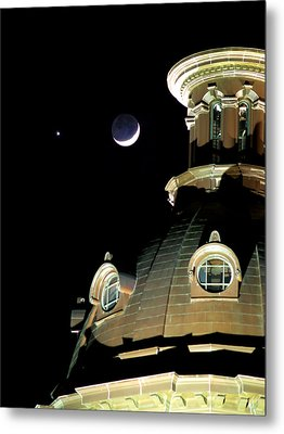 Venus And Crescent Moon-1 Metal Print by Charles Hite