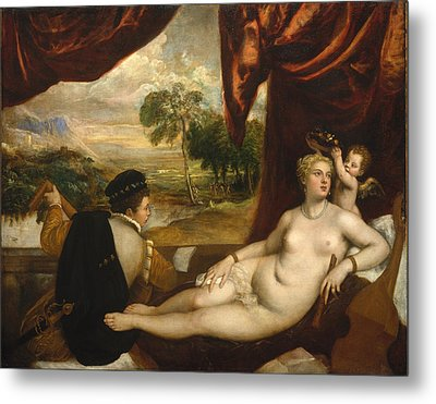 Venus And The Lute Player Metal Print by Titian