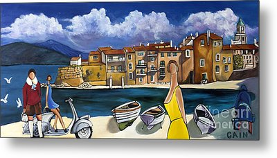 Vespa And French Cove Metal Print by William Cain