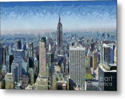 View Of Manhattan From Observation Deck At Rockefeller Building Metal Print by George Atsametakis