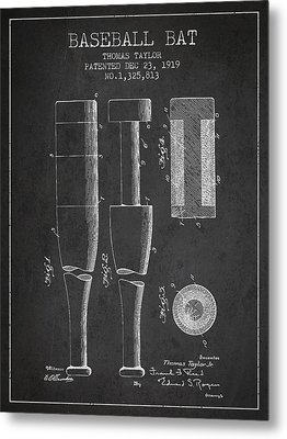 Vintage Baseball Bat Patent From 1919 Metal Print by Aged Pixel