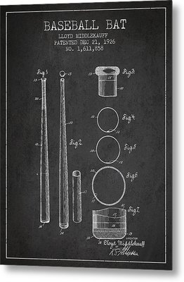 Vintage Baseball Bat Patent From 1926 Metal Print by Aged Pixel