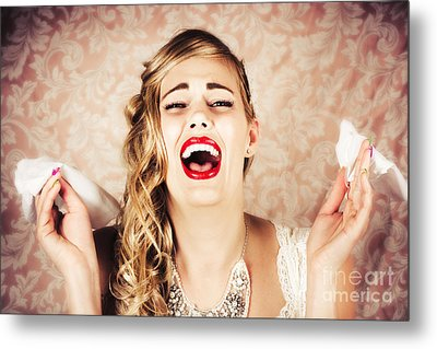 Vintage Bride Crying At The Alter With Tissues Metal Print by Jorgo Photography - Wall Art Gallery