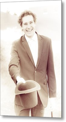 Vintage Business Man Greeting With Hat Off Metal Print by Jorgo Photography - Wall Art Gallery