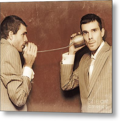 Vintage Business People Talking On Can Telephone Metal Print by Jorgo Photography - Wall Art Gallery