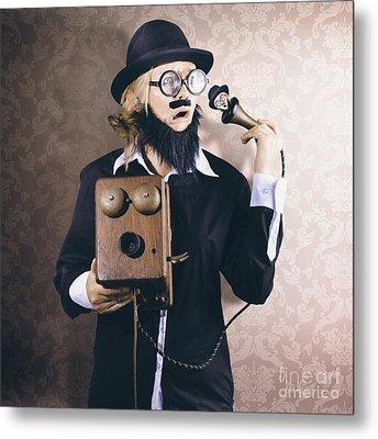 Vintage Businessman Listening To Conscience Metal Print