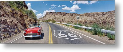 Vintage Car Moving On The Road, Route Metal Print by Panoramic Images
