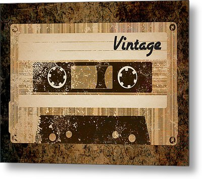 Vintage Cassette Metal Print by Sara Ponte