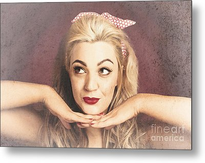 Vintage Face Of Nostalgia. Retro Blond 1940s Girl  Metal Print