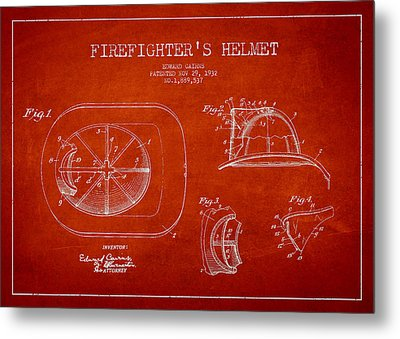Vintage Firefighter Helmet Patent Drawing From 1932 Metal Print