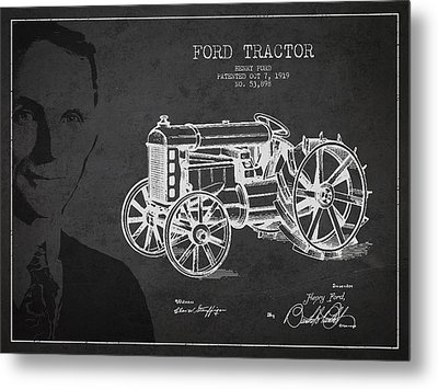 Vintage Ford Tractor Patent Drawing From 1919 Metal Print by Aged Pixel