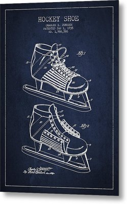 Vintage Hockey Shoe Patent Drawing From 1935 Metal Print