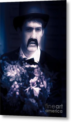 Vintage Man With Flowers Metal Print by Jorgo Photography - Wall Art Gallery