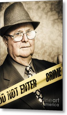Vintage Portrait Of A Crime Detective Metal Print by Jorgo Photography - Wall Art Gallery