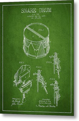 Vintage Snare Drum Patent Drawing From 1889 - Green Metal Print by Aged Pixel