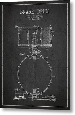 Snare Drum Patent Drawing From 1939 - Dark Metal Print by Aged Pixel