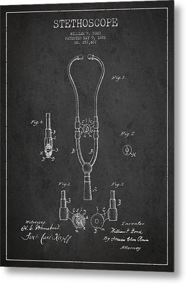 Vintage Stethoscope Patent Drawing From 1882 - Dark Metal Print by Aged Pixel