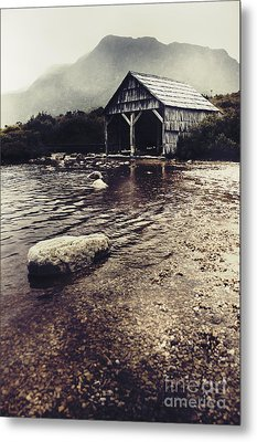Vintage Style Landscape Of A Rustic Boat Shed Metal Print by Jorgo Photography - Wall Art Gallery