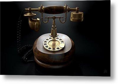Vintage Telephone Dark Isolated Metal Print by Allan Swart