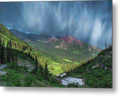 Virga And Storm Moving Over Mountains Metal Print