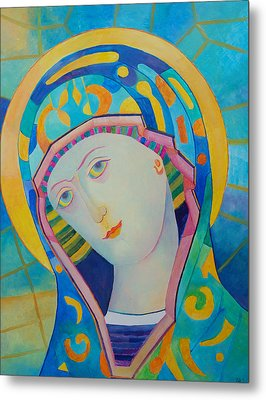 Virgin Mary Immaculate Conception. Religious Painting. Modern Catholic Icon Metal Print by Magdalena Walulik