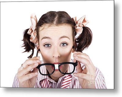 Visual Impaired Woman Trying To Read With Glasses Metal Print
