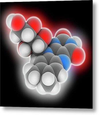 Vitamin B2 Riboflavin Molecule Metal Print