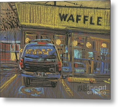 Metal Print featuring the painting Waffle House by Donald Maier