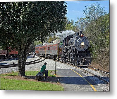 Waiting On A Train Color Metal Print