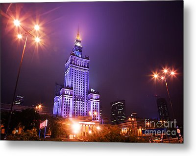 Warsaw Poland Downtown Skyline At Night Metal Print by Michal Bednarek