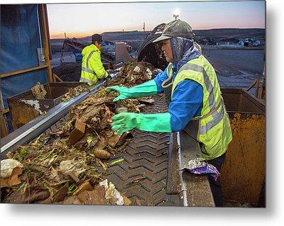 Waste Sorting At Composting Facility Metal Print