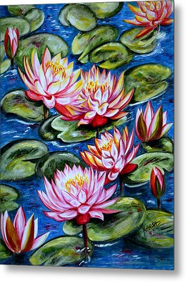 Metal Print featuring the painting Water Lilies by Harsh Malik